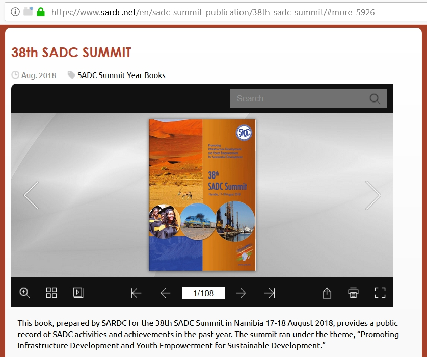 SARDC 38th SADC Summit Brochure